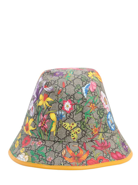 GUCCI Floral Gg Supreme Bucket Hat in yellow