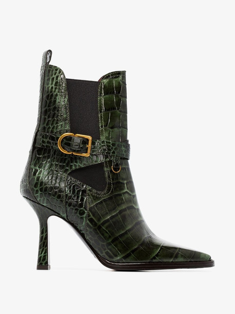 Sies Marjan green Naomy 90 croc-effect leather boots