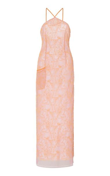 Jacquemus La Robe Lavandou Chiffon Midi Dress Size: 34 in orange