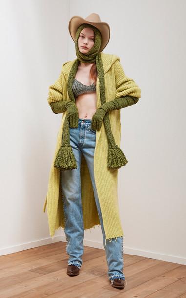 Alanui Eco Venus Ribbed-Knit Wool-Blend Bra Top in grey