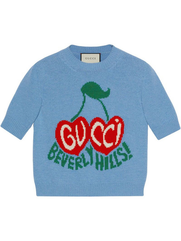 Gucci Beverly Hills cherries intarsia-knit top in blue