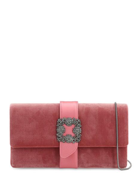 MANOLO BLAHNIK Capri Embellished Velvet & Satin Clutch in pink