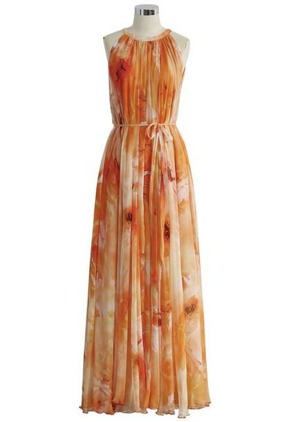 dress maxi dress chiffon orange waterfall dress floral
