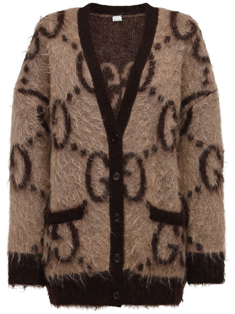 GUCCI Oversized Gg Mohair Blend Knit Cardigan in beige