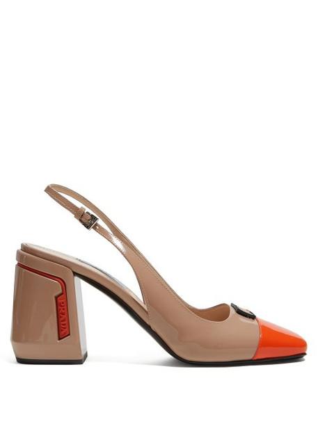 Prada - Patent Leather Slingback Pumps - Womens - Beige Multi