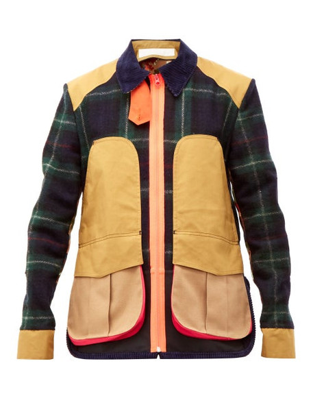 La Fetiche - River Panelled Wool Tartan Jacket - Womens - Beige Navy
