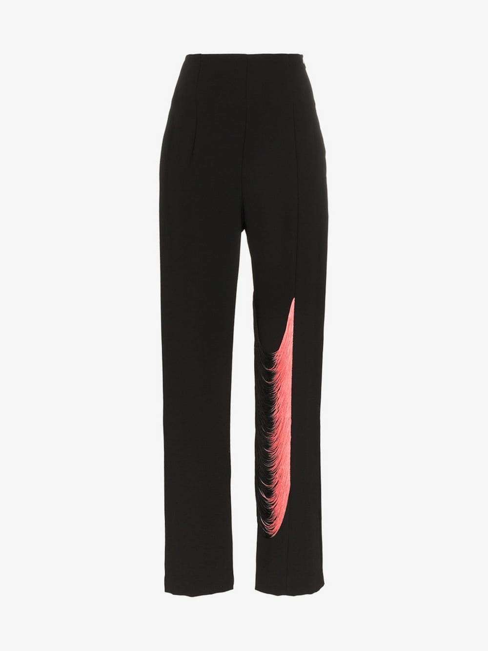 George Keburia high-waisted fringe detail trousers in black