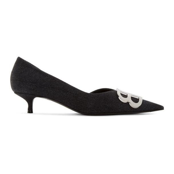 Balenciaga Black Denim BB Heels