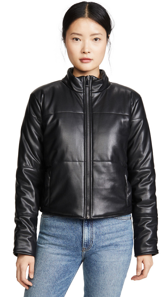 David Lerner Bella Vegan Crop Puffer Coat in black