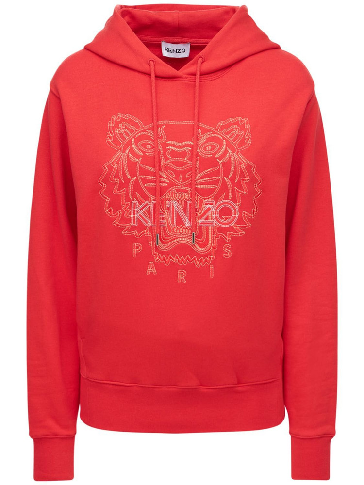 KENZO Embroidered Tiger Cotton Sweatshirt in red