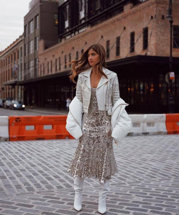 dress sequin dress midi skirt silver dress white boots heel boots knee high boots white jacket grey jacket leather jacket sequins rocky barnes instagram blogger fashion week silver metallic midi dress