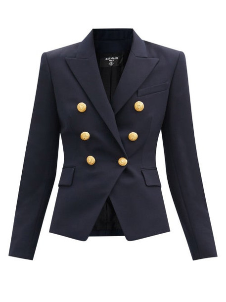 Balmain - Double-breasted Wool-twill Blazer - Womens - Navy