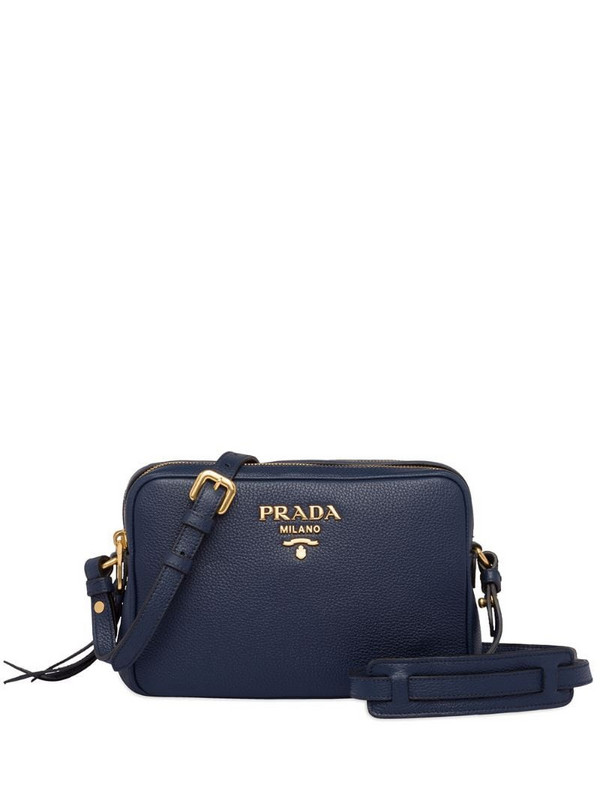 Prada textured camera bag in blue