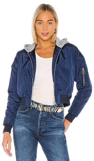 superdown Raquel Cropped Hooded Jacket in Blue