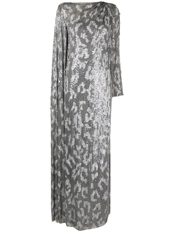 Jenny Packham draped sequin-embellished gown in silver