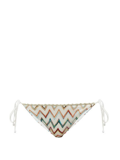 Missoni Mare - Metallic Zigzag-knitted Triangle Bikini Briefs - Womens - White Multi