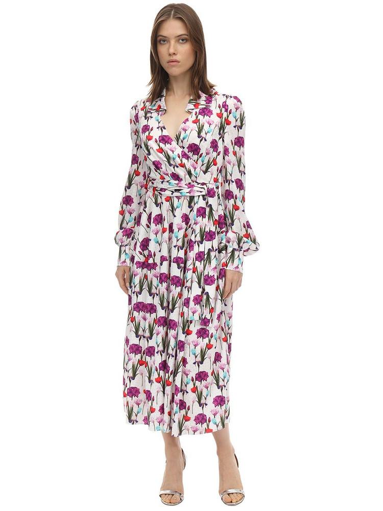 BORGO DE NOR Printed Satin Jacquard Midi Dress in ivory / multi