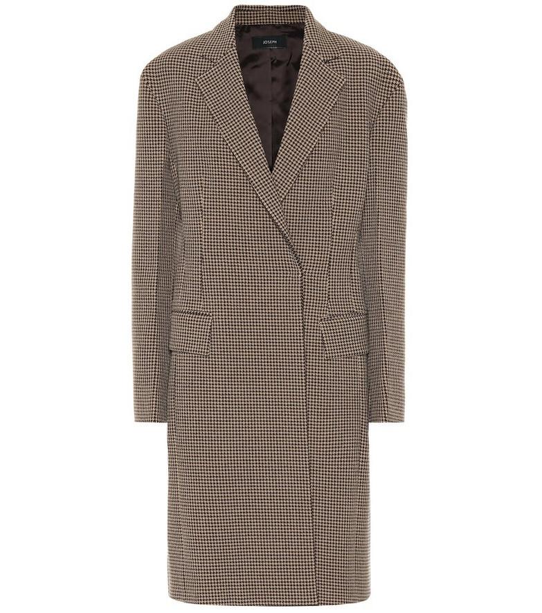 Joseph Arton checked wool-blend coat in brown