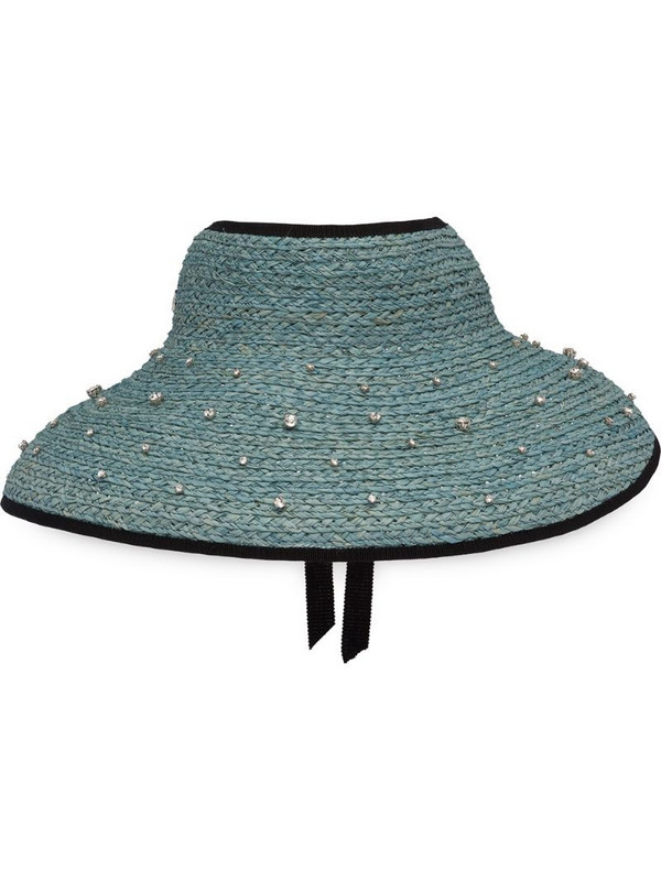 Miu Miu crystal-embellished woven hat in blue
