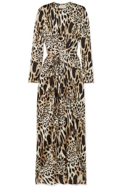 Alexandre Vauthier - Crystal-embellished Animal-print Stretch-silk Satin Gown - Leopard print