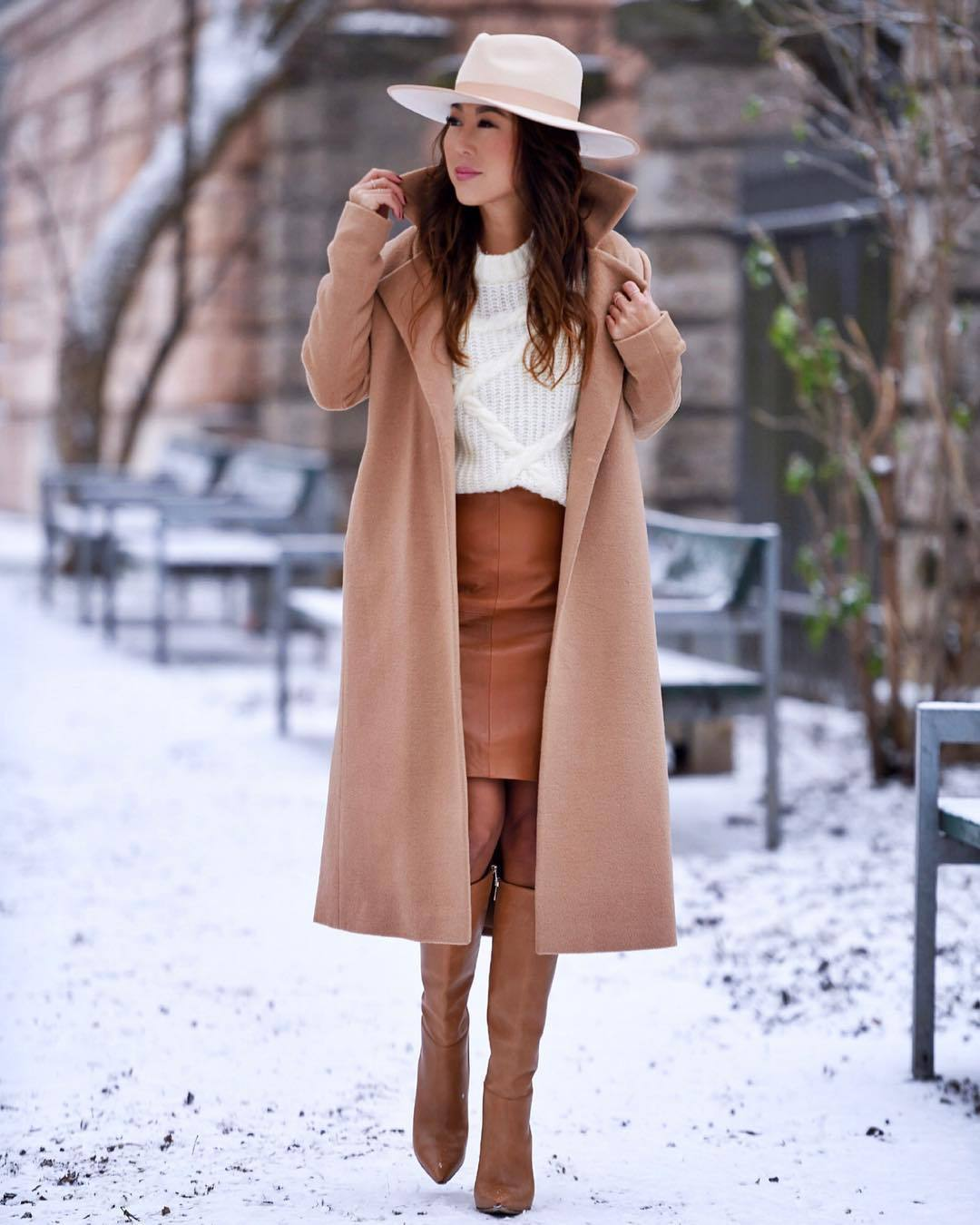 shoes knee high boots leather skirt white sweater knitted sweater camel coat long coat hat