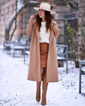 shoes,knee high boots,leather skirt,white sweater,knitted sweater,camel coat,long coat,hat