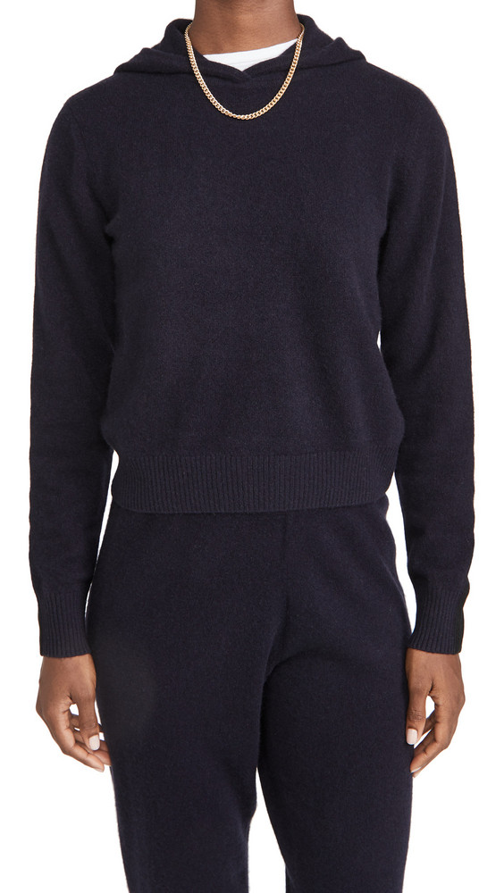 Naadam Cropped Cashmere Hoodie in navy