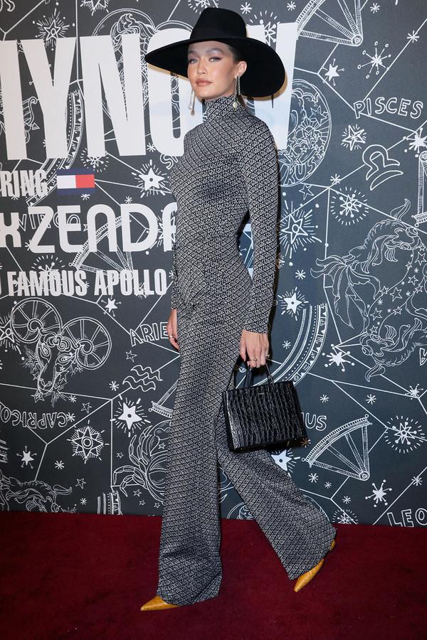 top pants turtleneck celebrity model gigi hadid grey silver
