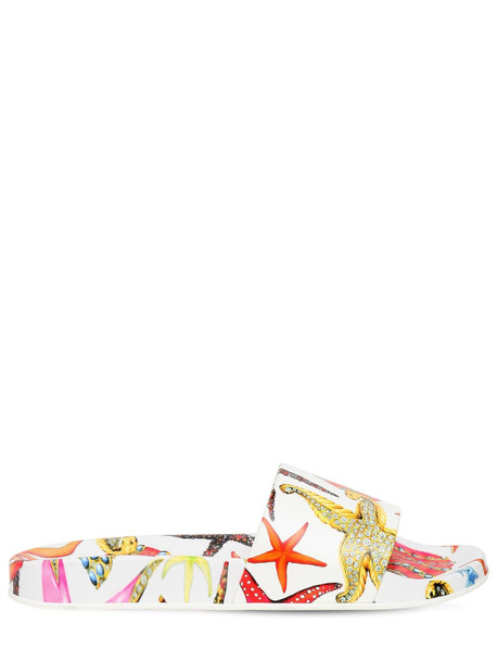 VERSACE 10mm Printed Rubber Slides in white / multi