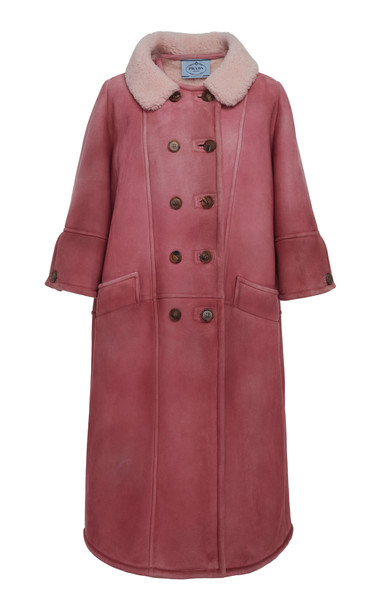 Prada Shearling Lined Overcoat in pink