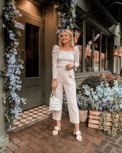 pants,high waisted pants,straight pants,white sandals,white bag,white blouse,lace top
