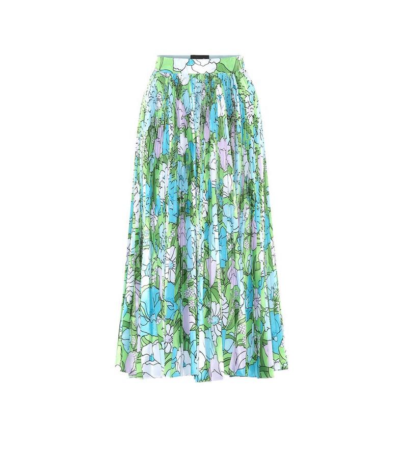 Richard Quinn Floral pleated taffeta skirt in green