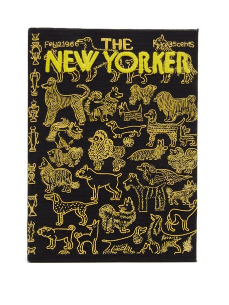 Olympia Le-tan - The New Yorker Embroidered Book Clutch - Womens - Black Yellow