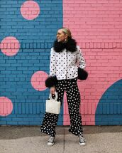 pants,wide-leg pants,black pants,polka dots,high waisted pants,converse,white coat,handbag,white bag