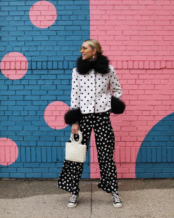 pants wide-leg pants black pants polka dots high waisted pants converse white coat handbag white bag