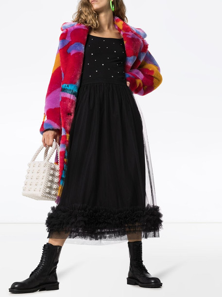 Molly Goddard leonie tulle ruffle hem skirt in black