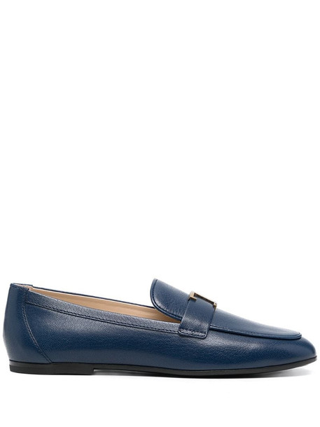 Tod's T-logo plaque loafers in blue