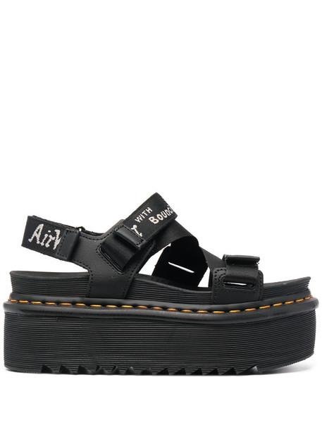 Dr. Martens logo print platform sandals in black