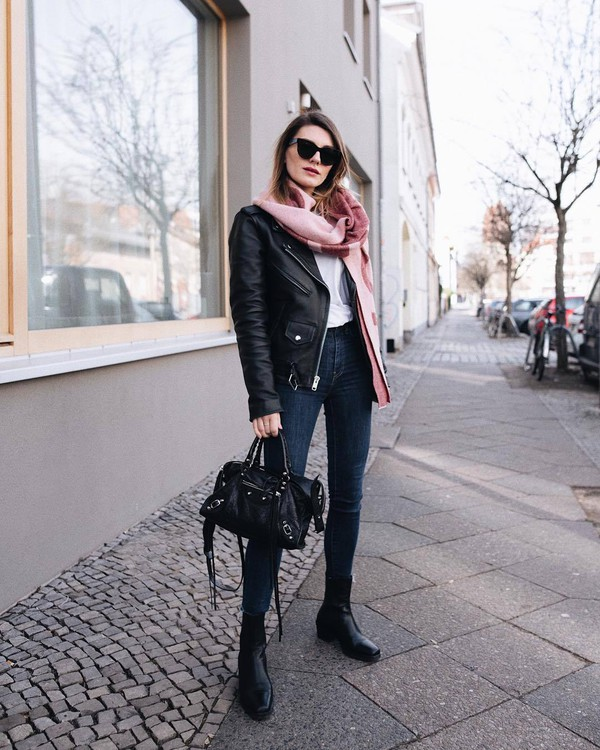 scarf acne studios black boots ankle boots skinny jeans high waisted jeans black bag balenciaga white blouse