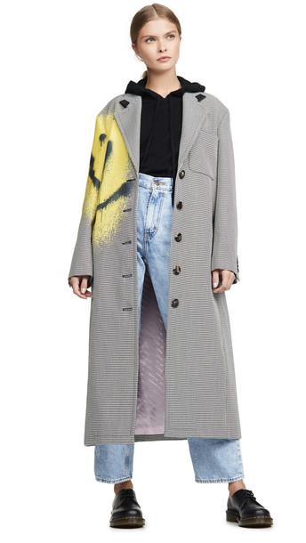 Alexander Wang Drop Shoulder Coat with Spray Paint Happy in black / white
