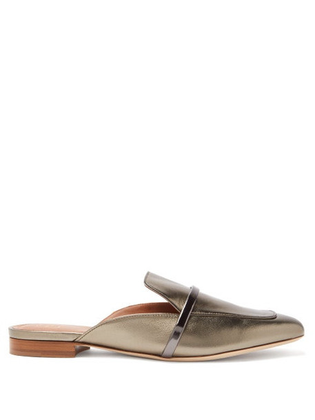 Malone Souliers - Jada Metallic-leather Backless Loafers - Womens - Silver