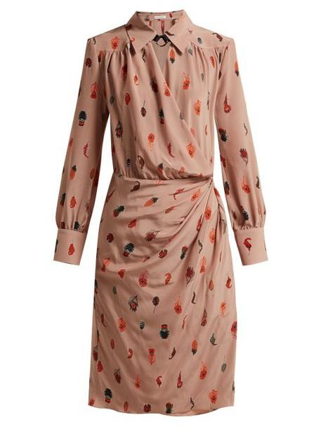 Altuzarra - Kat Feather Printed Silk Midi Dress - Womens - Beige Print