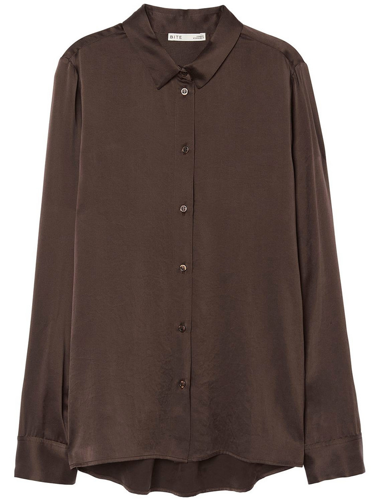 BITE STUDIO Organic Silk Satin Shirt in brown