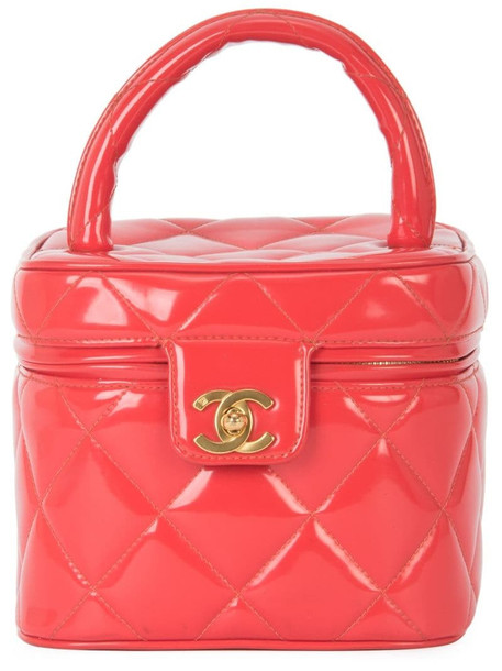 Chanel Pre-Owned 1994-1996 CC diamond-quilted cosmetic vanity bag in red
