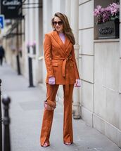 jacket,blazer,double breasted,orange,flare pants,sandal heels,loewe,loewe bag,turtleneck