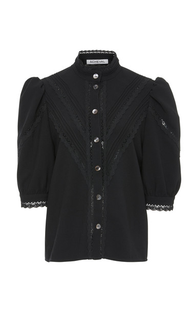 Acheval Pampa Yegua Lace High Neck Blouse in black