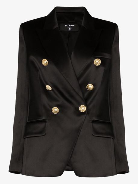 Balmain double-breasted silk blazer in black