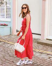 dress,midi dress,pink dress,sleeveless dress,sneakers,white bag