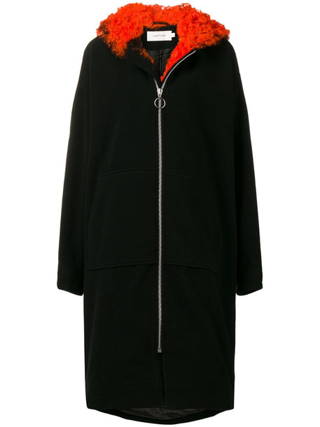 Marques'Almeida shearling trim coat in black