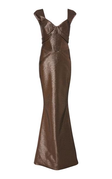 Zac Posen Cap Sleeve Gown in metallic